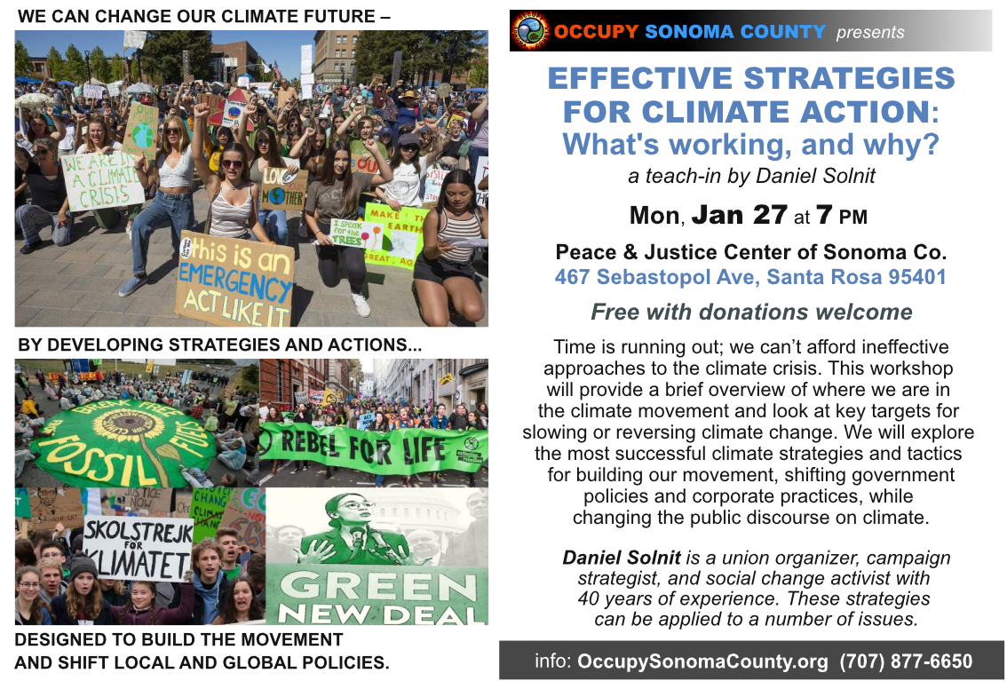 Effective Strategies for Climate Action Teach-in 7 pm; Peace & Justice Center, Santa Rosa
