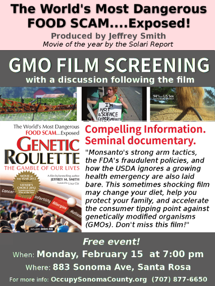 Genetic Roulette Film Showing, 2/15 at 7 PM; 883 Sonoma Ave, Santa Rosa